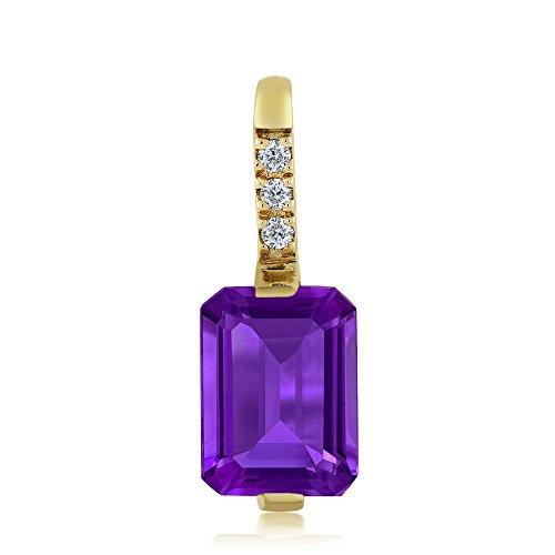 Purple Amethyst Emerald - 18K Yellow Gold Emerald Cut Purple Amethyst and Diamond Pendant