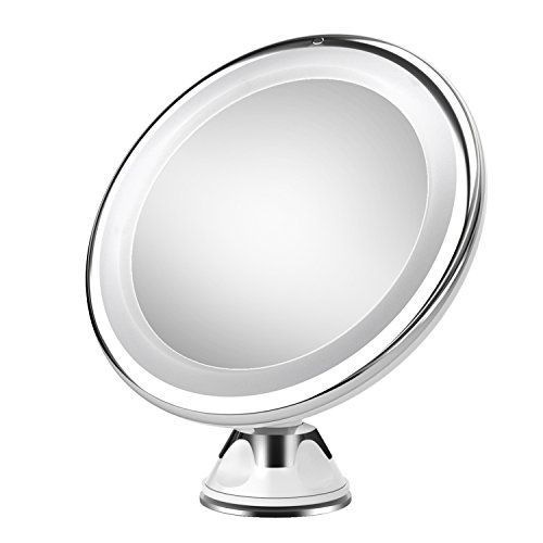 Oak Leaf 7X Lighted Magnifying Mirror Makeup Vanity Mirror with Lights,Battery Operated,Suction Base and 360 Degree ()