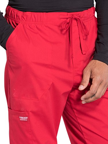 Cherokee Professionals Workwear Men's Tapered Leg Zip Fly Drawstring Scrub Pant Small Tall Red by Cherokee (Image #3)