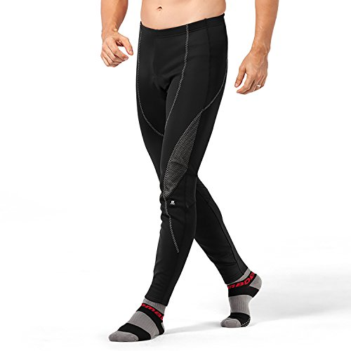 4ucycling Men's Black Silicone Gel Padded Compression Tights Windstopper Fleece Pants