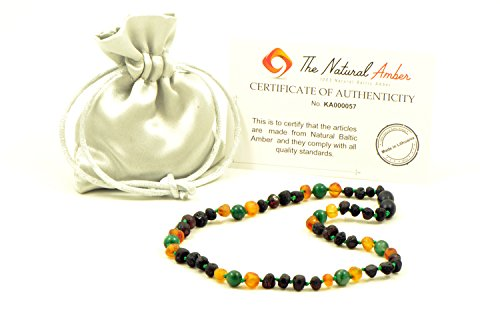 Amber Teething Necklace - Baby Necklace- Unisex - Various Size - Hand-Made from Baltic Amber and African Jade Beads (Raw Cherry/Raw Honey/African Jade, 14.2in (36cm))