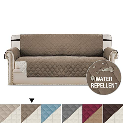 H.VERSAILTEX Sofa Covers Couch Slipcovers Reversible Quilted Furniture Protector,Water Resistant, Improved Couch Shield with Elastic Straps, Anti-Slip Foams, Micro Fabric Pet Cover Sofa, Taupe/Beige