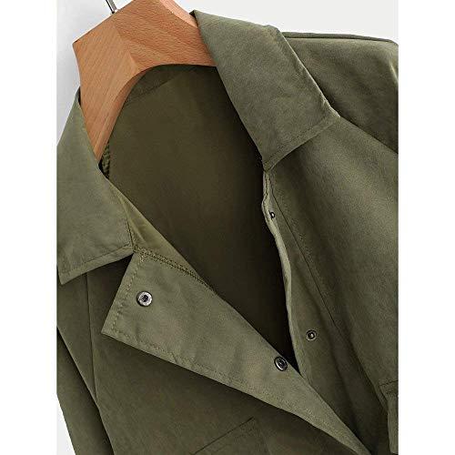 Primaverile Bottoni Unique Chiusura Con Tasche Elegante Lunga Outerwear Giacca Giaccone Manica Stlie Hipster Moda Grün Monocromo Autunno Sciolto Di Donna Cappotto Casuali Ta48q7f