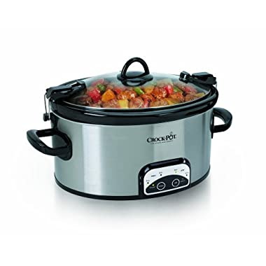 Crock-Pot 6-Quart Programmable Cook & Carry Oval Slow Cooker, Stainless Steel