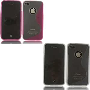2 Pack S-Line Gel Cubrir Caso Piel Para Apple iPhone 4 4S /Off White And Pink Design