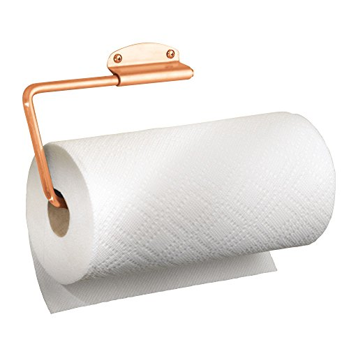 mDesign Wall Mount Swivel Paper Towel Holder for Kitchen - Copper - Copper Paper Towel Holder