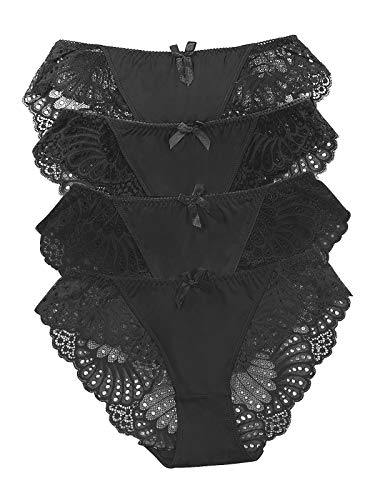 - Panties Underwear Hipster Panties Sexy Lace Briefs for Women (4 Pack) (Black-4 Pack, S (US 4))