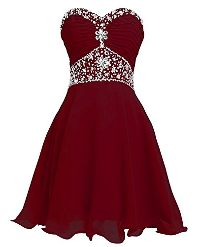 (Women Strapless Crystal A Line Short Chiffon Homecoming Cocktail Dress Burgundy US22W)