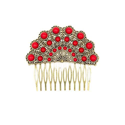 Comb Spanish - Ole Ole Flamenco Hair Side Comb Hand Fan Shape Spanish Combs Peineta Flamenco Dancer Ornamental Hair Pins Gold Red Roja