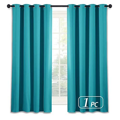 NICETOWN Blackout Shades for Bedroom Windows - (Turquoise Blue Color) Thermal Insultaed Window Treatment Curtain Drape, Room Darkening Modern Drapery for Boy's Room, 52x63-Inch,One Panel by NICETOWN