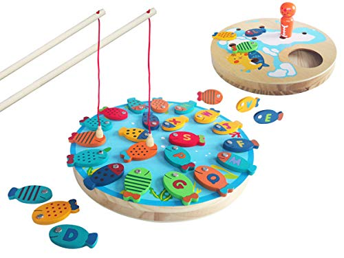 - Lunar Magnetic Fishing Game 26 Wooden Alphabet Fishes Catching Counting Game for Toddlers