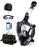 FinaTider Newest Version Snorkel Mask Collapsible Diving Mask with Camera Mount Dry Top Set Anti-Fog Anti-Leak for Adults (Black)