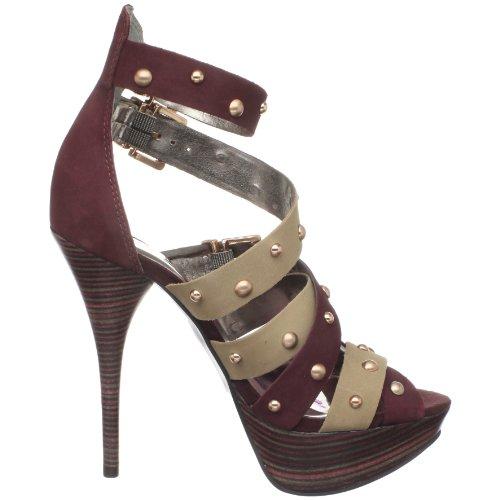 Zandra Rhodes Carman, Damen Fashion-Sandalen Rot (Wine)