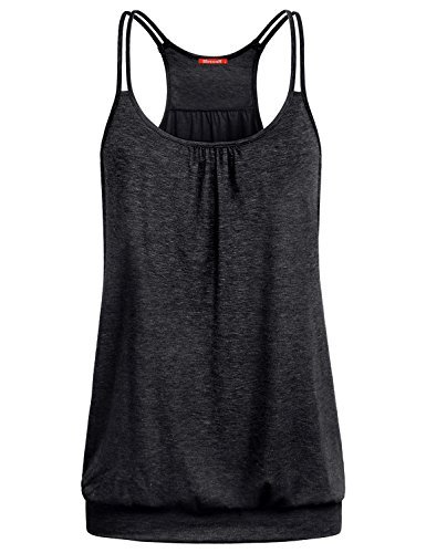 (Blevonh Cami Tank Tops for Women, Ladies Exercise Tank Tops Black Tunic Tops Sleeveless Shirts Scoop Neck Spaghetti Strap Pleated Front Banded Hem Basic Camisoles Black XXL)