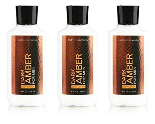 Bath Body Works Dark Amber 8.0 oz Body Lotion 3 Pack