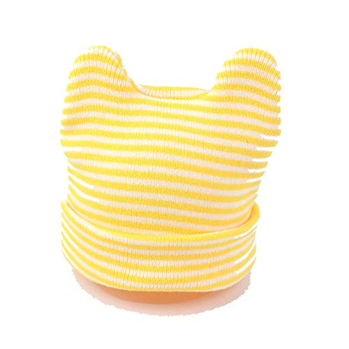 (Cartoon Cat Stripe Baby Knitted Hat Baby Ear Protection Head Cap 6 Months to 3 Years Old Boy Girls Winter Hat Light Yellow)