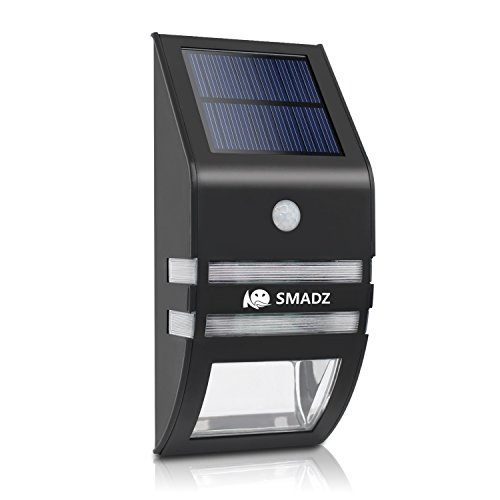 SMADZ SL72A Fashion Solar Powered Garden Lights Waterproof Stainless Steel Motion Sensor Security Patio Deck Yard Garden Home Driveway Stairs Outside Wall Pathway Light (Warm Light)