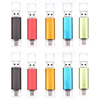 Uactor 10pcs 8GB OTG Micro USB 2.0 Flash Drive 2 in 1 8G Memory Stick Pen Thumb Shaped for Cell Phones & Tablet PCs Mix-Color