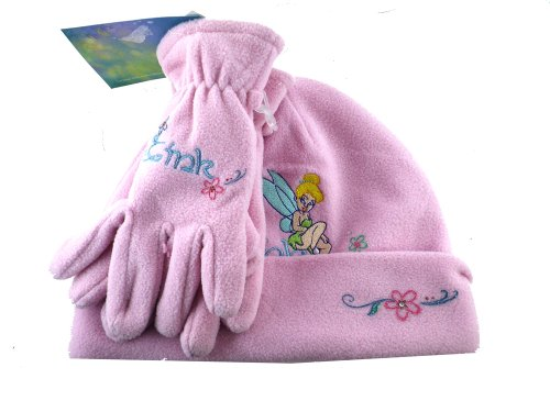 Pink 2pc Plush Tinkerbell Beanie and Gloves Set - Tinkerbell Winter -