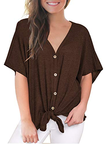 MIHOLL Womens Loose Blouse Short Sleeve V Neck Button Down T Shirts Tie Front Knot Casual Tops Brown (XX-Large, Brown)