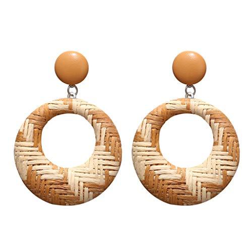 - Korea Temperament Personality Simple Leather Dangle Handmade Wood Bamboo Rattan Geometric Statement Round Earrings Ladies Jewelry Yellow