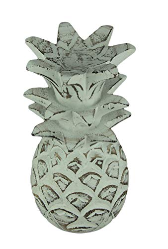 Distressed White Carved Wood - Chesapeake Bay Distressed White Carved Wood Tropical Pineapple Decor Statue