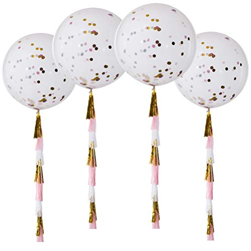 MOWO Confetti Balloons Giant Clear Balloon Tassels Gold Pink White Fuchsia Set of 4