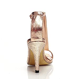 New Sexy High Heel Sandals Women Ladies Fashion Sexy Peep Toe Dancing Sandals Size 33-39,Gold,5