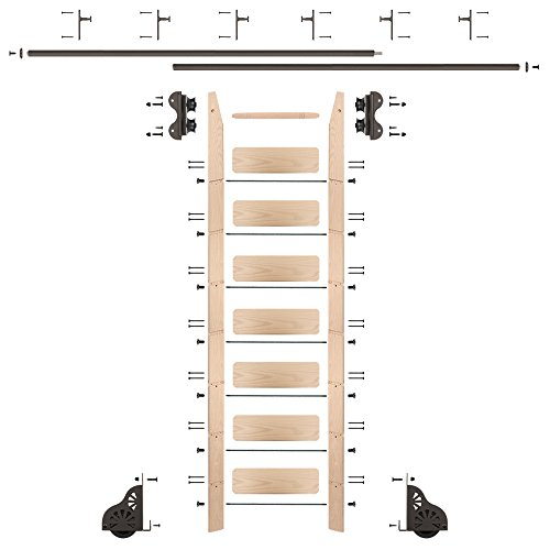 QG Rolling Ladder Kit with 8' Maple Ladder and 12' of Railing, Oil Rubbed Bronze