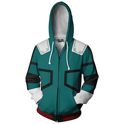 COSFLY Boku No Hero Academia My Hero Academia Izuku Midoriya Jacket Sweatshirt Cosplay Costume Hoodies Green 4X-Large