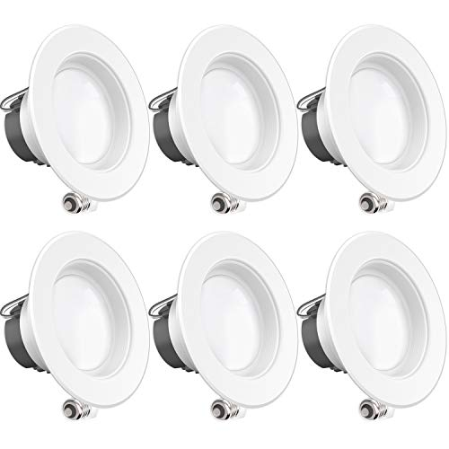 - Sunco Lighting 6 Pack 4 Inch LED Recessed Downlight, Baffle Trim, Dimmable, 11W=40W, 3000K Warm White, 660 LM, Damp Rated, Simple Retrofit Installation - UL + Energy Star