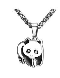 Panda Bear Pendant Necklace in Black Gift Box