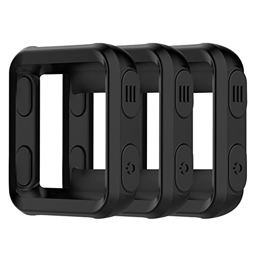 AWINNER Colorful Case for Garmin Forerunner 35,Shock-Proof and Shatter-Resistant Protective Silicone Case for Garmin Forerunner 35 GPS Running Watch (3-Black)