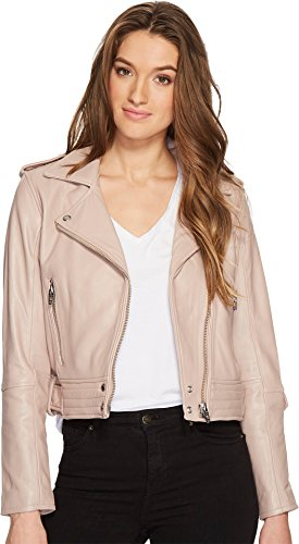 Blank NYC Women's Real Leather Moto Jacket In Rose Dust Rose Dust X-Small