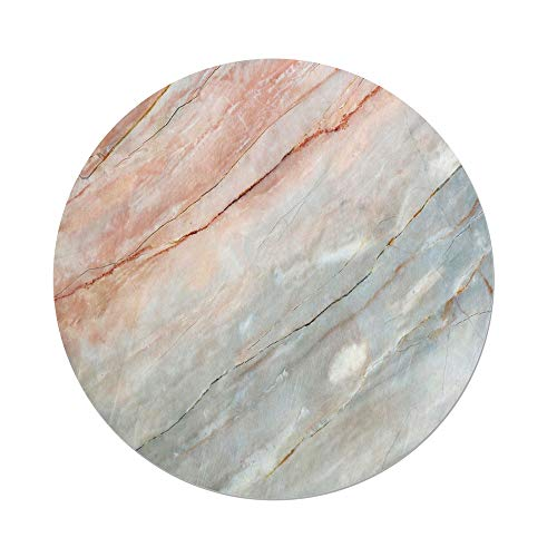 Polyester Round Tablecloth,Marble,Onyx Stone Textured Natural Featured Authentic Scratches Artful Illustration Decorative,Peach Pale Grey,Dining Room Kitchen Picnic Table Cloth Cover,for Outdoor Indo (Onyx Lattice)