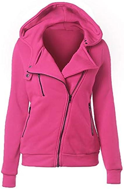 Suéter Casual para Mujer otoño e Invierno para Mujer Abrigo con Cremallera Diagonal de Manga Larga con Capucha para Mujer