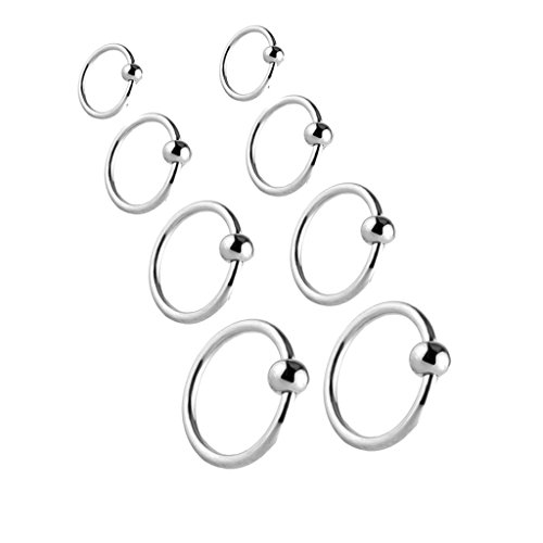 Bead Captive Hoop (Joybeauty Unisex Stainless Steel Captive Bead Hoop Barbell CBR Rings for Ear Belly Lip Nose Ring Piercing Jewelry Mixed Sizes Pack of 8 Pcs)