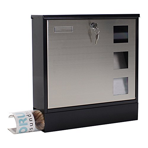 - Rottner A4 Design Steel/Stainless Large Steel Letter Box With Integrated Newspaper Holder 380x370x120 mm