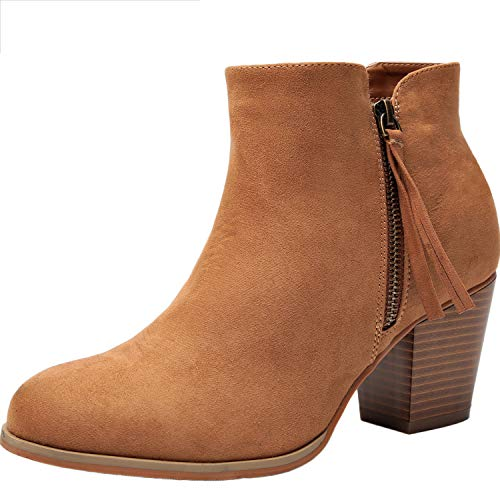 Women's Wide Width Ankle Booties - Comfort Mid Heel Casual Zipper Elastic Ankle Warm Boots.(180620 Brown 6.5WW) (Jeans Boots Brown)