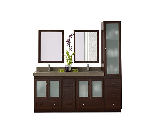 RONBOW Shaker 61 inch Bathroom Vanity Set in Dark Cherry, Double Bathroom -