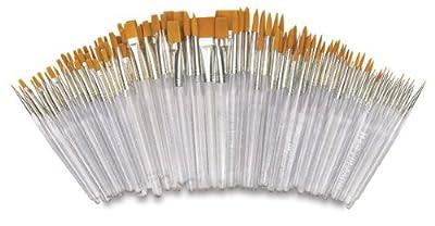 Royal Brush Waterproof Standard Golden Taklon Hair Acrylic Handle Paint Brush Combo Pack, Assorted Size, White, Pack of 144