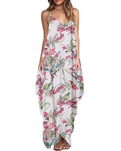 (ZANZEA Women's Floral Print V Neck Spaghetti Strap Long Maxi Dress Sundress 02-White L)
