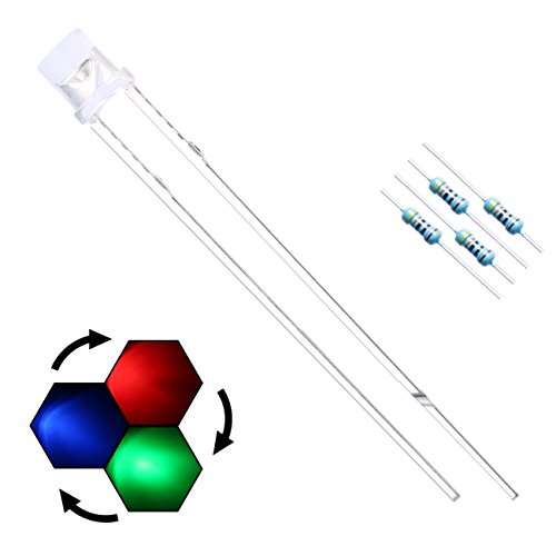 EDGELEC 100pcs 3mm RGB Slow Flashing LED Diodes Multicolor (Colors Changed Automatically) Water Clear Flat Top (DC 3V) +100pcs Resistors (For DC 6-13V) / Bulb Lamps Light Emitting Diode
