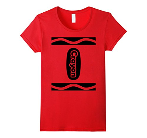 [Women's Funny Cute Crayon Halloween Costume T-Shirt Choose Colors Small Red] (Cute Halloween Costumes)