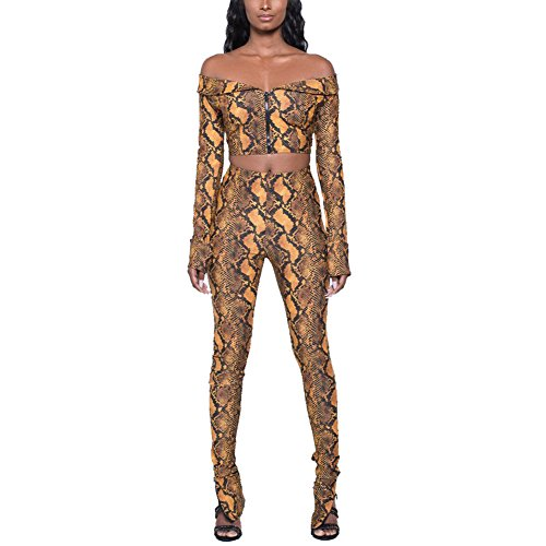 Sherro Women's Sexy 2 Piece Outfits Floral Ruffles Off Shoulder Crop Top and Bodycon Long Pants Jumpsuits Rompers,Yellow,Small ()