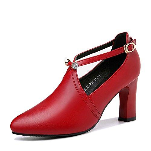 PUMPS MS Spitzen High Heels, Joker Chunky Heels Schuhe,Flache Schuhe-B Fußlänge=24.8CM(9.8Inch)
