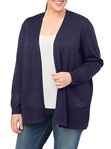 89th&Madison Hole Punch Open Front Plus Size Cardigan by 89th&Madison