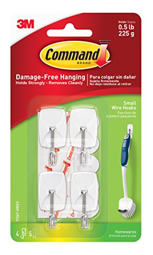Command Wire Hooks, Small, White, 4-Hooks (Command Metal Hook)