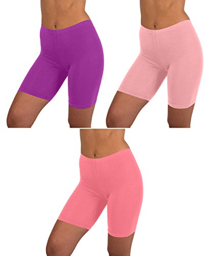 - Sexy Basics Womens 3 Pack Active Dance Running Yoga Bike - Boy Short Boxer Briefs (3XL/10, 3 PK-Peach/Purple/Quartz Pink)