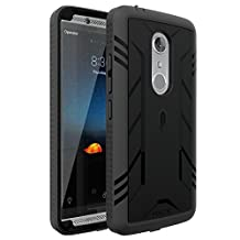 ZTE AXON 7 Case, POETIC Revolution Series [Premium Rugged][Shock Absorption & Dust Resistant] Complete Protection Hybrid Case w/ Built-In Screen Protector for ZTE AXON 7 (2016) Black